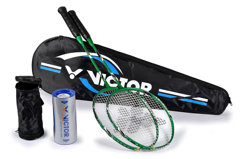 Victor Badminton Set, 2X VICTEC Rap Badmintonschlä ger/Racketbag / 3X Nylonball, Grü n/Schwarz/Weiß , 67.5 cm VCTR5|#VICTOR 099/3/7