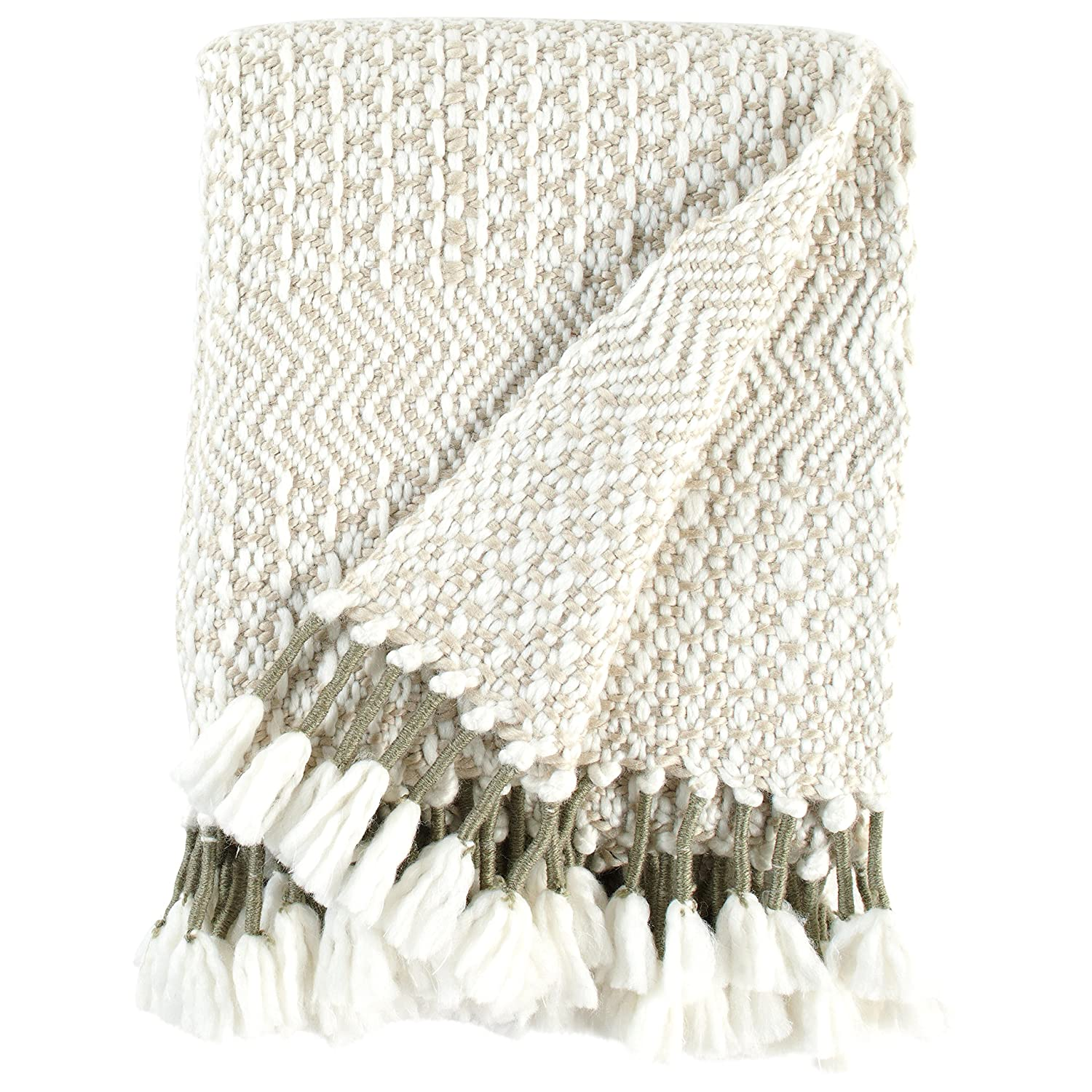 Rivet Modern Hand-Woven Stripe Fringe Throw Blanket, 50