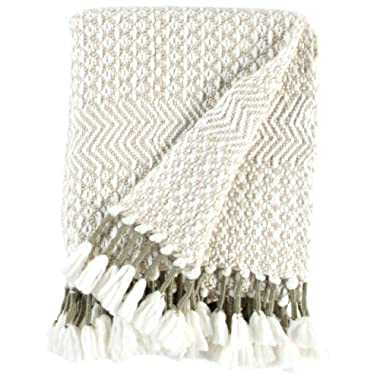 Rivet Modern Hand-Woven Stripe Fringe Throw Blanket, Soft and Stylish, 50  x 60 , Tan, Ivory