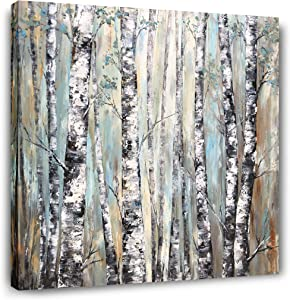 Yihui Arts Fashion Canvas Wall Art Modern Tree Artwork Painting Abstract Forest Pictures for Living Room Bedroom Home Decor Ready to Hang(20Wx20L)