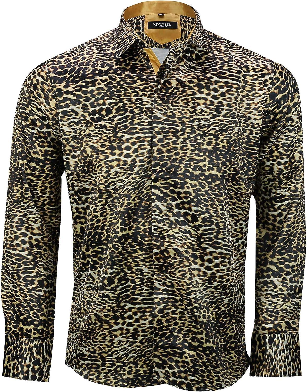 Mens Retro leopardato stampa animale setoso sensazione di design stile smart party