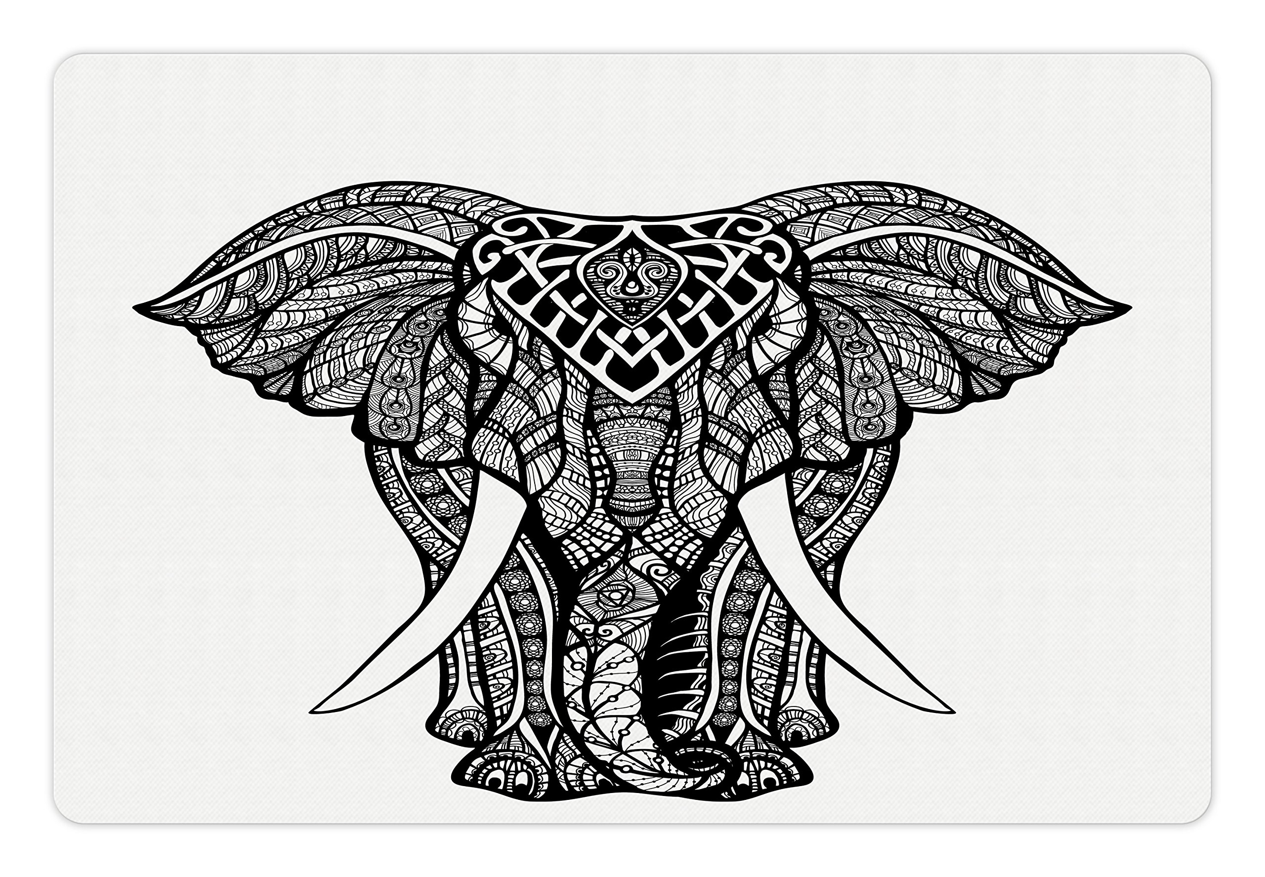 Ambesonne Elephant Mandala Pet Mat for Food and Water, Tribal Mehndi Ethnic Native American Totem Mandala Spirit Animal, Rectangle Non-Slip Rubber Mat for Dogs and Cats, Black and White
