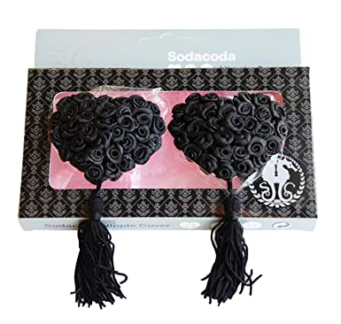 Self Adhesive and Reusable Special Occasion Heart Breast Petals SODACODA Silicone Sequin Tassel Nipple Covers