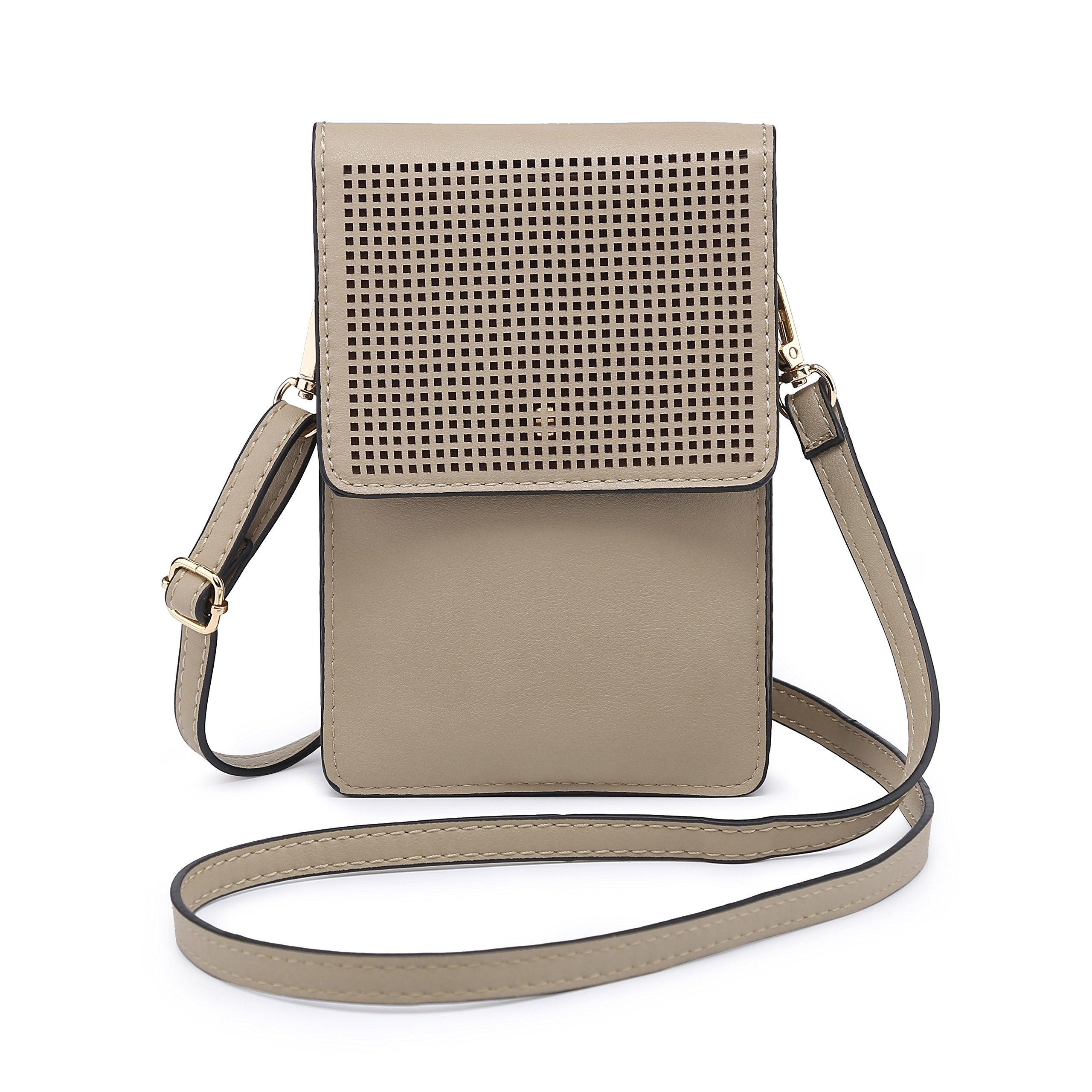AFREDO FEDI Phone Pouch, Cell Phone Bag Mini Crossbody Purse for Women teens Girls Wallet for IPhone X 8 Plus Samsung S8 7 (Small, Beige)