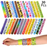 VABNEER Slap Bracelets Slap Bands Party Bag Fillers Wristbands Party for Kids Boys Girls Adults (30 Pack)