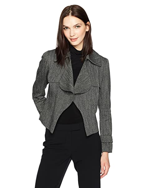 Amazon.com: Anne Klein Mujer Tweed Ruffle Trench chamarra ...