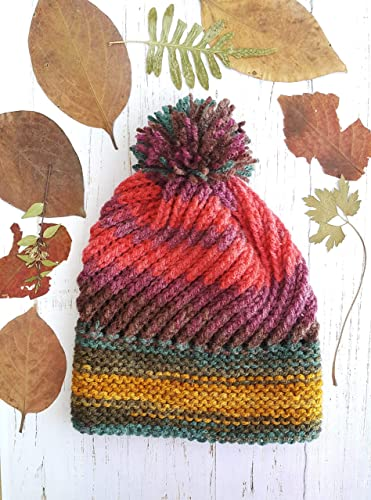 3ad7a3d629a Image Unavailable. Image not available for. Color  Women s multicolored  beanie with pom pom - Knit beanie Womens winter hat ...