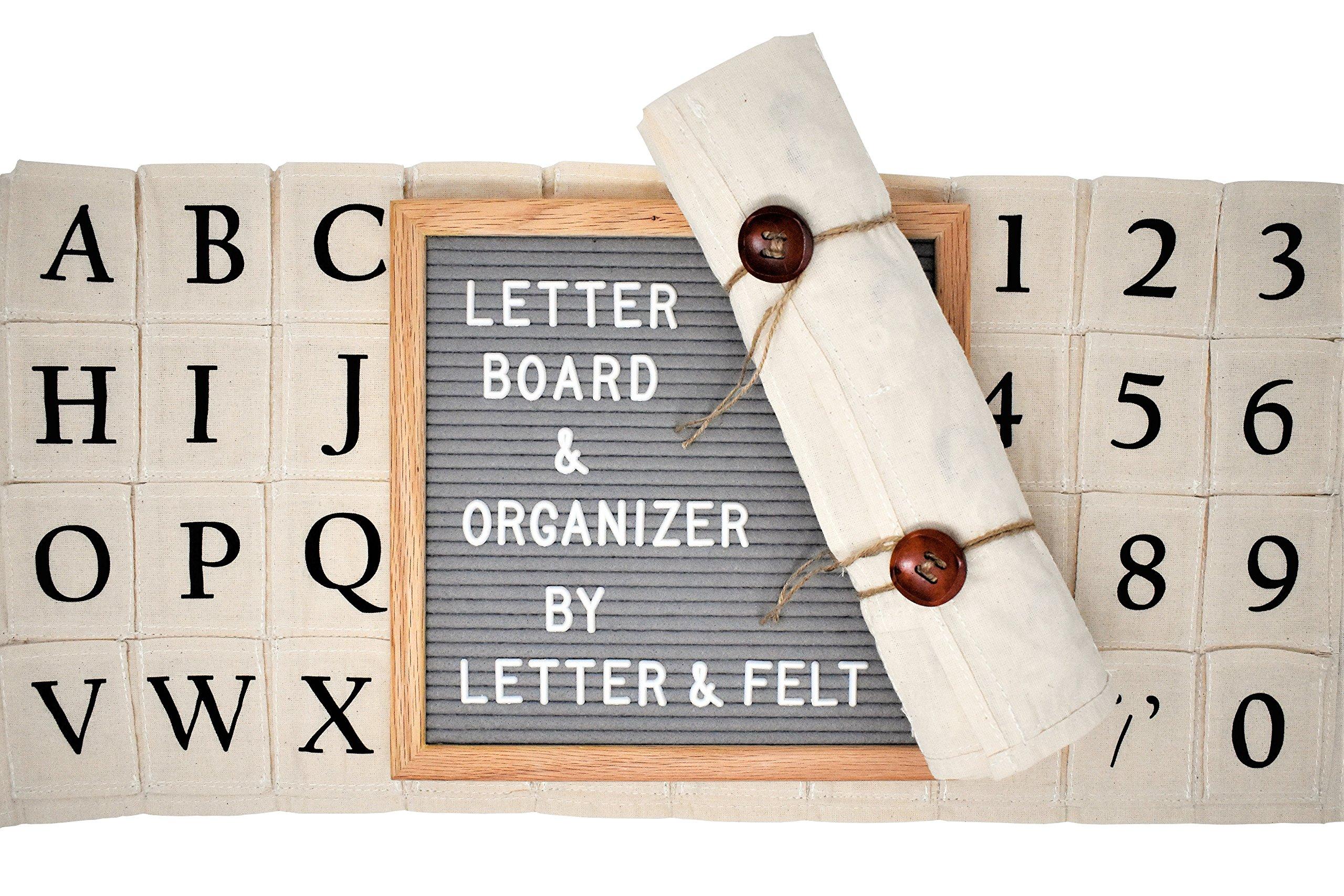 Premium 10x10 Letter Board with Letter Organizer - Changeable Gray Felt Vintage Letter Board Sign by Letter&Felt