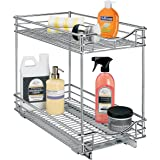 Lynk Professional Slide Out Double Shelf - Pull Out Two Tier Sliding Under Cabinet Organizer - 11 inch wide x 21 inch deep - Chrome - Multiple