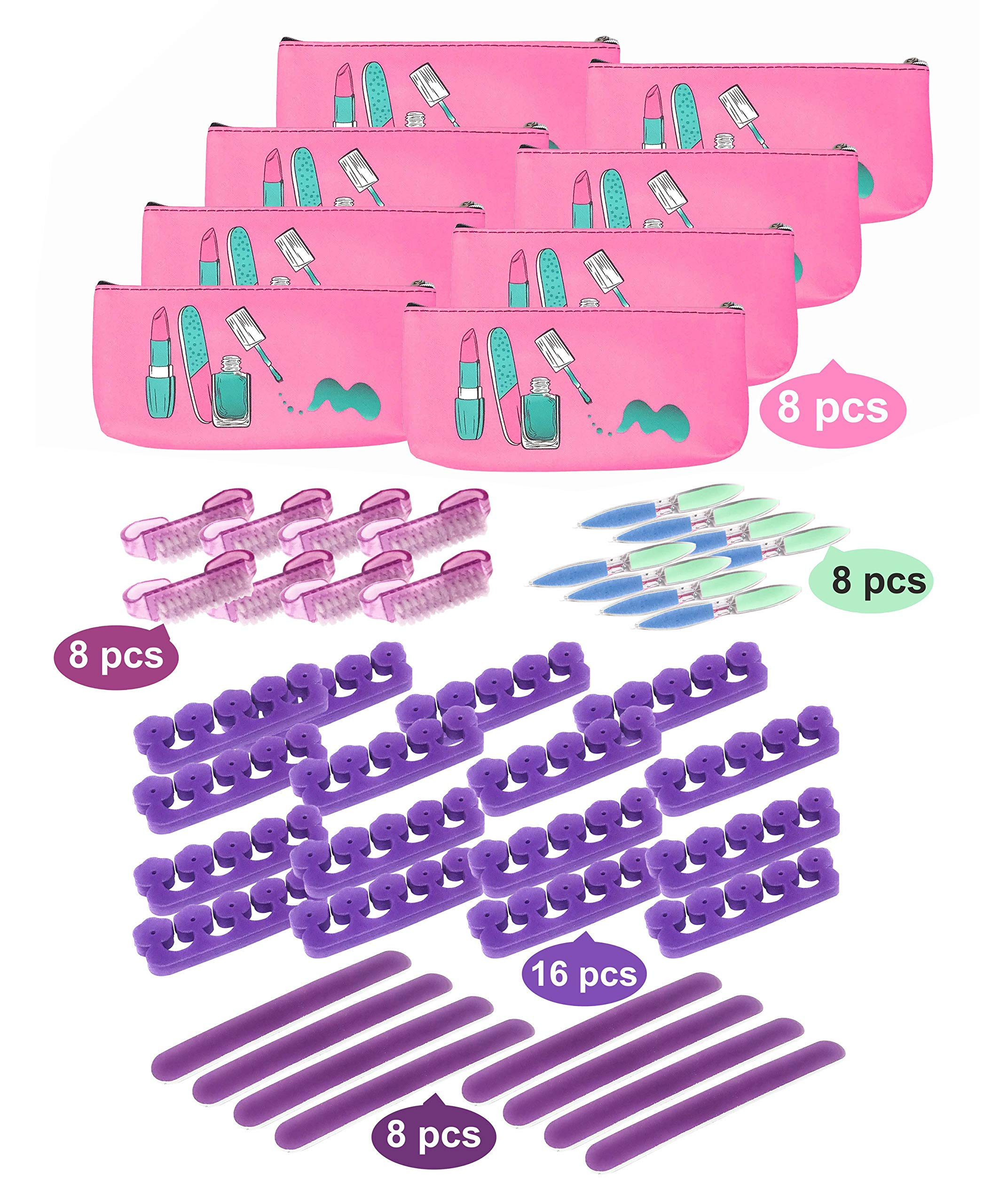 Spa Party Favors 48 Piece Set for Girls mani and pedi (8 Mini Emery Boards, 16 Toe Separators, 8 Brushes, and 8 6-way Nail Buffer) by MtnGift