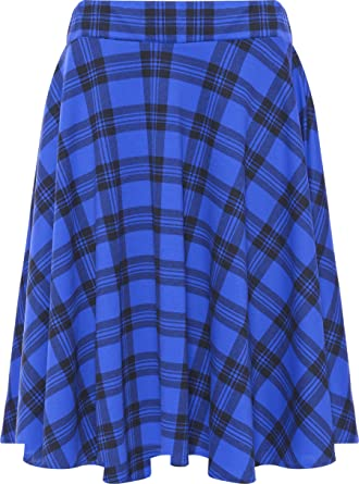 7e75b59c9f1 WearAll Womens Plus Size Tartan Check Print Elastic Ladies Short Skater  Skirt - Blue - 14