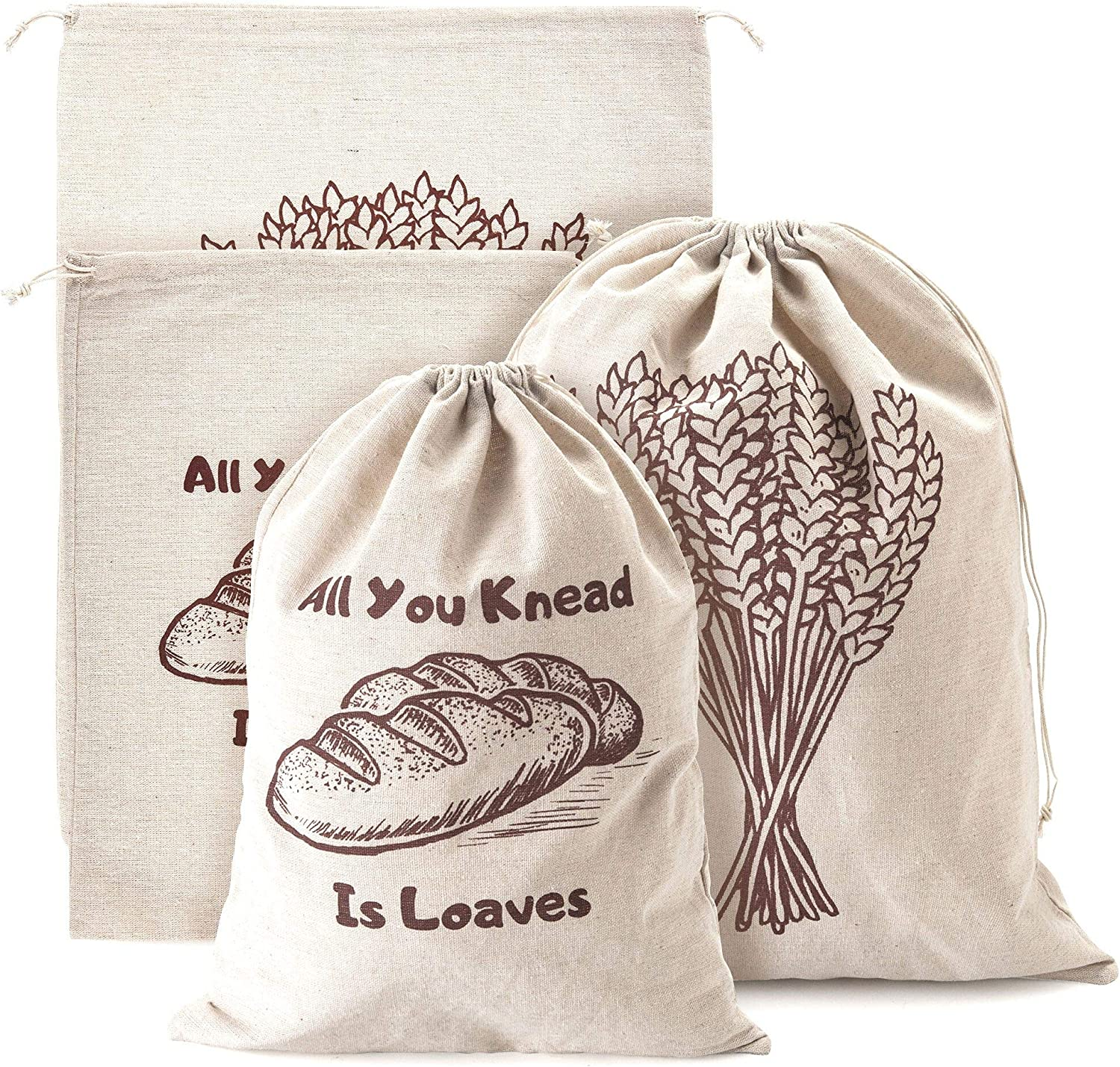 Linen Bread Bags, Pack of 4 Large and Extra Large Natural Unbleached Bread Bags, Reusable Drawstring Bag for Loaf, Homemade Artisan Bread Storage, Linen Bags for Food Storage, Ideal Gift for Bakers