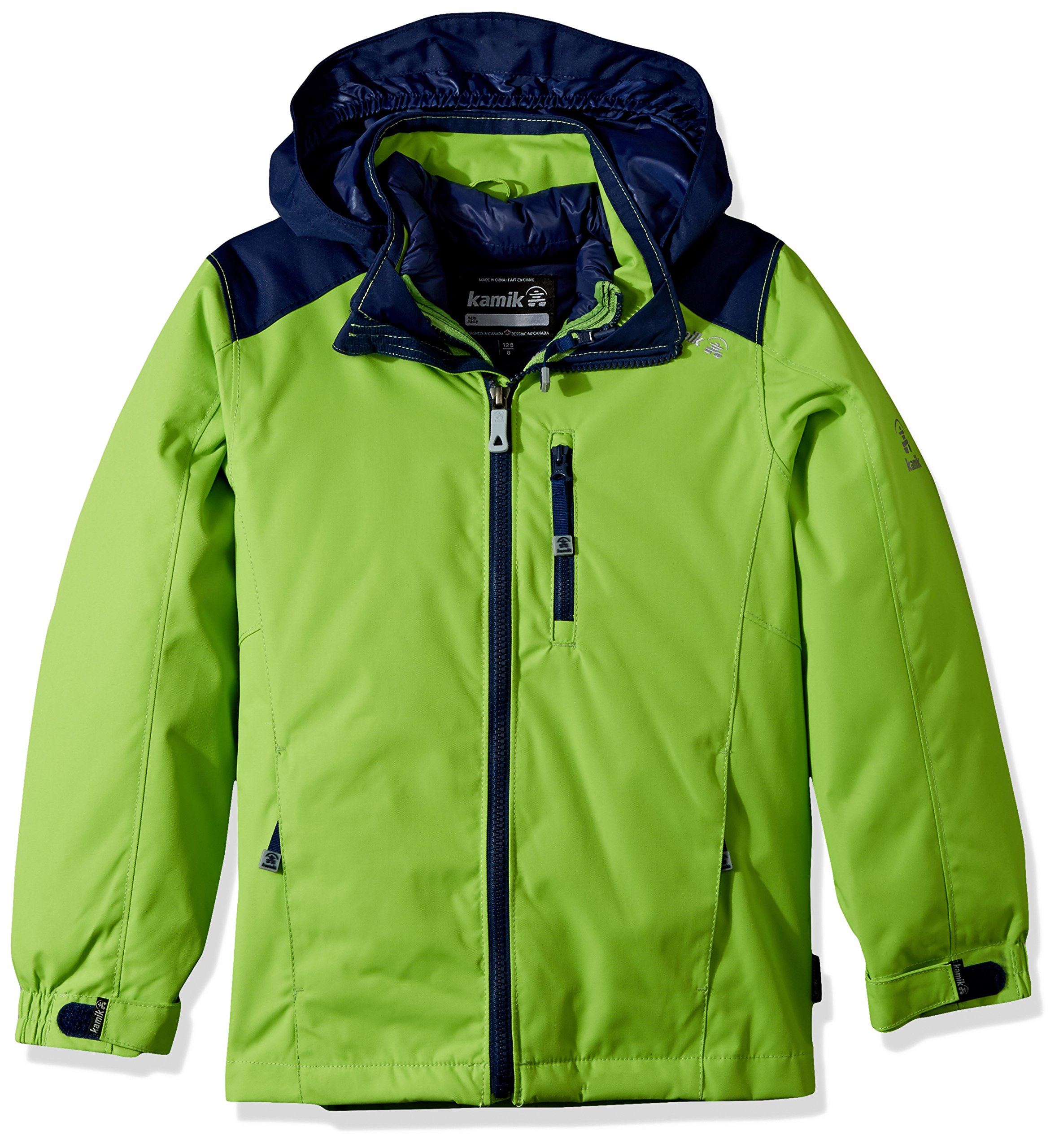 Kamik Winter Apparel Boy's Chase 3In1 Down, Gecko/Navy, 3 by Kamik Winter Apparel (Image #1)