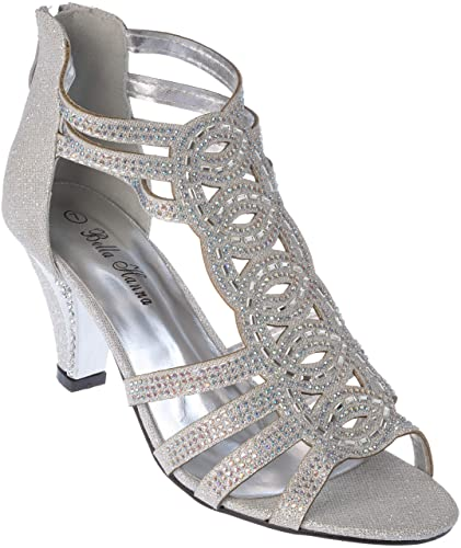 6f85e9249c19bf kinmi34 Women Evening Sandal Rhinestone Silver Dress-Shoes Size 10