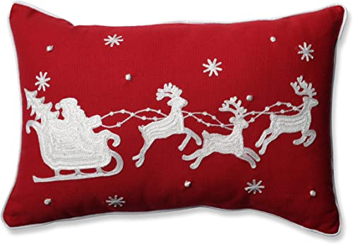 Pillow Perfect Santa Sleigh Reindeers Rectangular Throw Pillow, Red