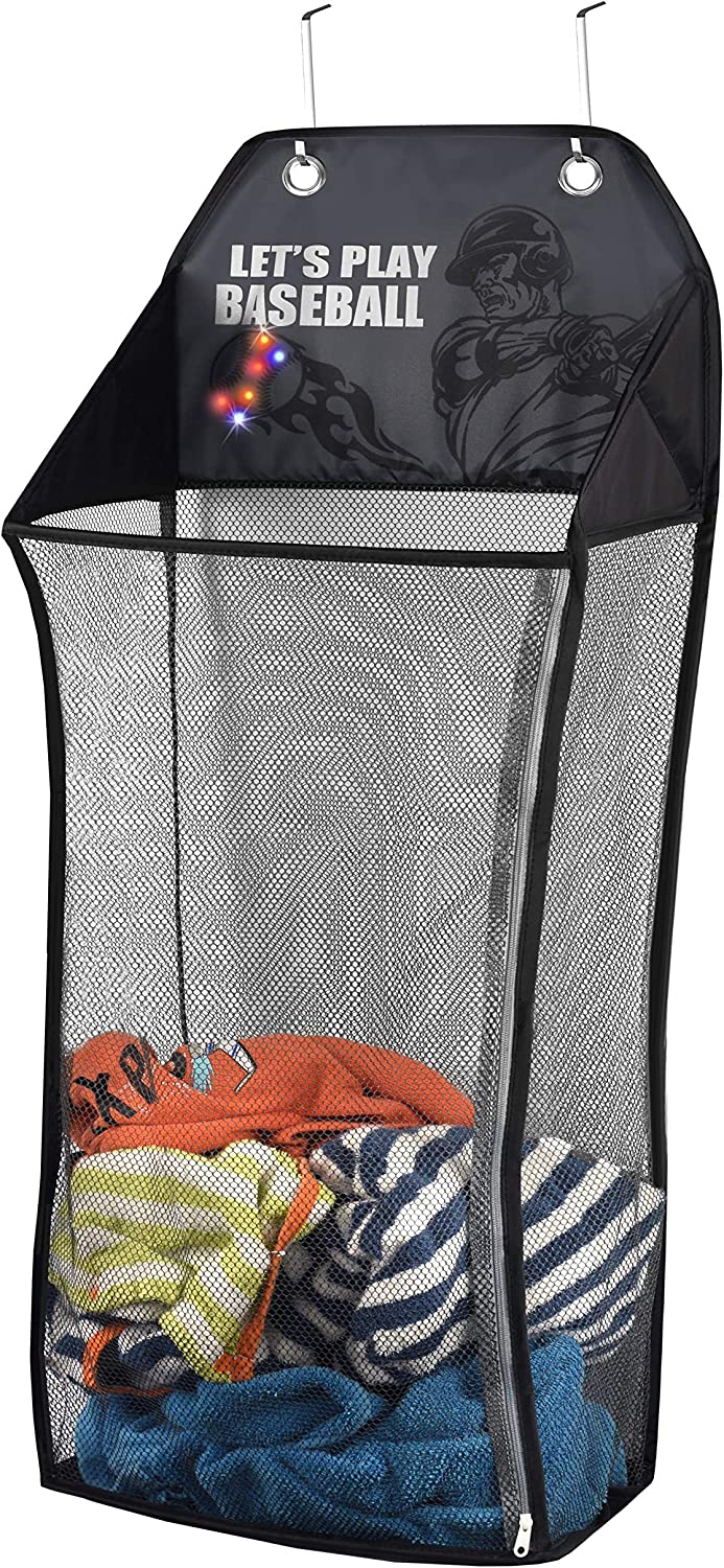Store & Score Over The Door Hanging Kids Fun LED Baseball Light-Up Collapsible Mesh Laundry Hamper Basket, Toy Chest, Heavy Duty Metal Hooks Included. Patent Pending