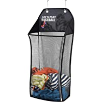 Store & Score Over The Door Hanging Kids Fun LED Light-Up Collapsible Mesh Laundry Hamper, Toy Chest, Metal Hooks Included