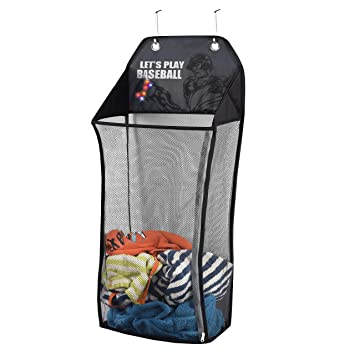 20cd5b538a94 Store & Score Over The Door Hanging Kids Fun LED Baseball Light-Up  Collapsible Mesh Laundry Hamper Basket, Toy Chest, Heavy Duty Metal Hooks  Included. ...