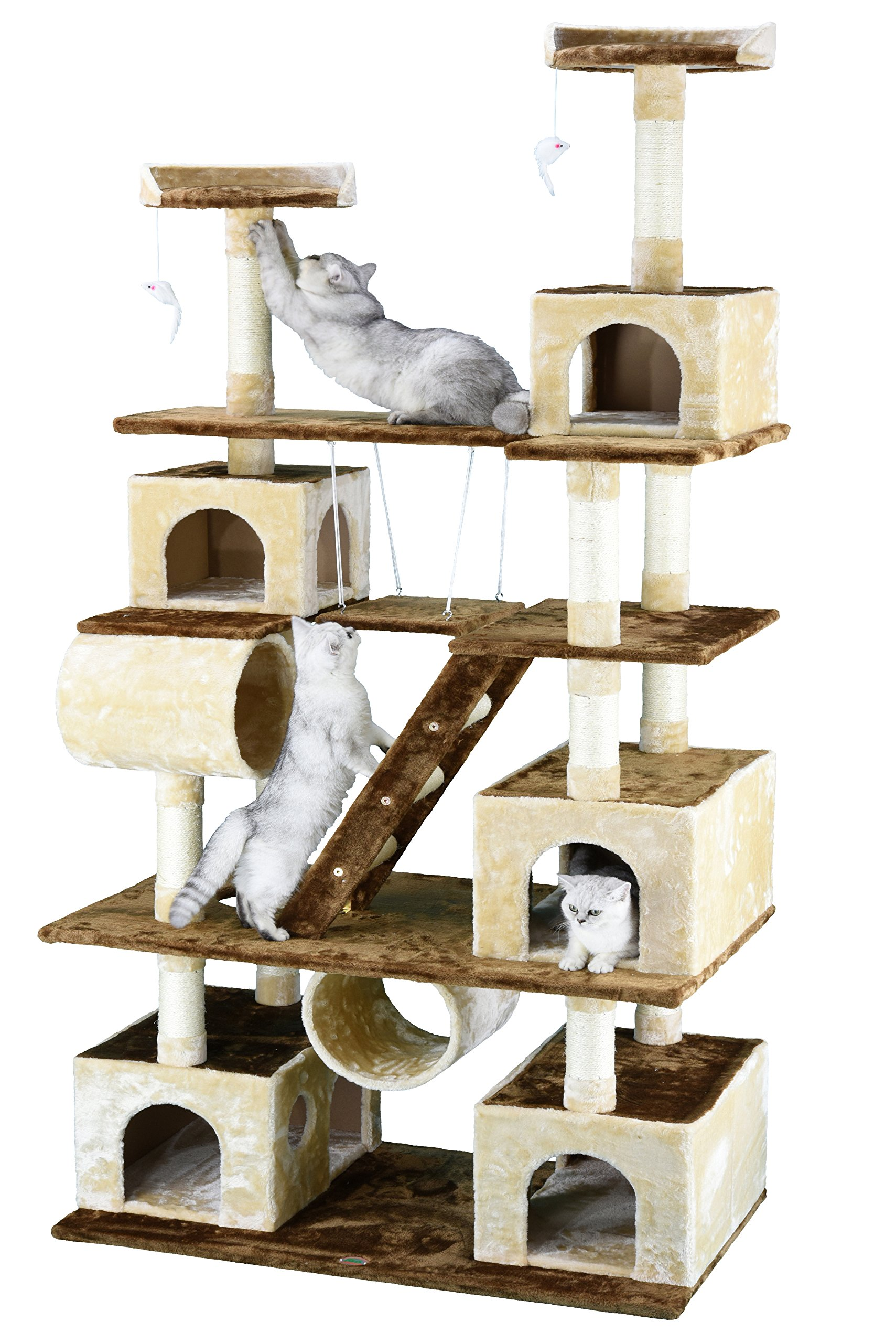 Go Pet Club Huge 87'' Tall Cat Tree House Climber Furniture with Swing