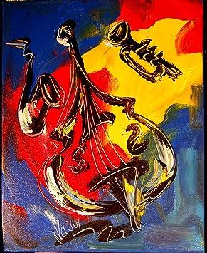 Musique Jazz Abstrait Moderne Peinture Murale Decor Original