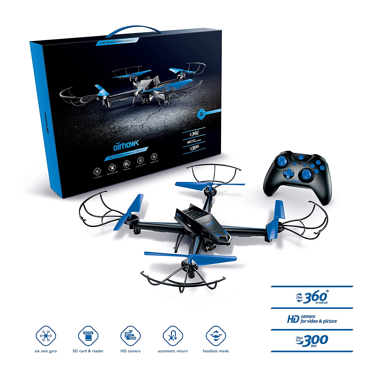 Airhawk M 13 Drone With Superhd Camera 360 Degree 360degree Diagram Showing The Location Of Altair Flips Bright Led Lights Headless Mode Long Lasting Battery Includes Spare Set