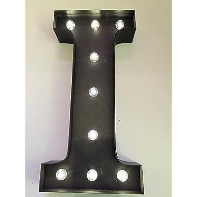 """HLS LED Lettre I in Rouillé marron Effet - 33cm (13"""") Panneau en métal à LED avec mode de minuterie quotidienne de 6hr et Constant ON!"""