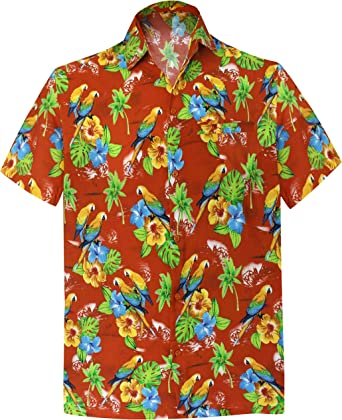 LA LEELA Casual Hawaiana Camisa para Hombre Señores Manga Corta Bolsillo Delantero Surf Palmeras Caballeros Playa Aloha XS-(in cms):91-96 Calabaza Naranja_W593: Amazon.es: Ropa y accesorios