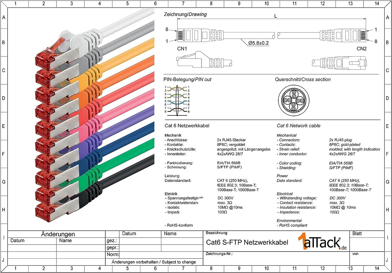Trasparente Cavo di Rete Cat6 LAN RJ45 1000Mbit s S-FTP Cat 6 PIMF Cavo Patch 1000Mbit s Compatibile con Cat.5 Cat.6 Cat.7 Cat.8 1aTTack.de 10m 1 Pezzo