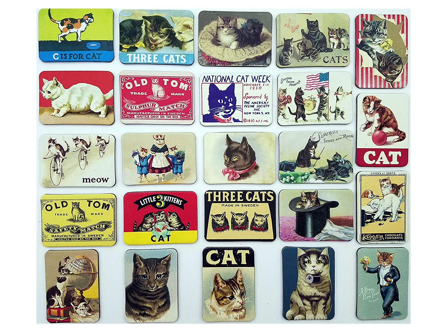 Cat Fridge Magnets Refrigerator Magnet Magnetic Souvenirs Mini Small Vintage Retro for Stainless Steel Board Kitchen car Office Set of 24