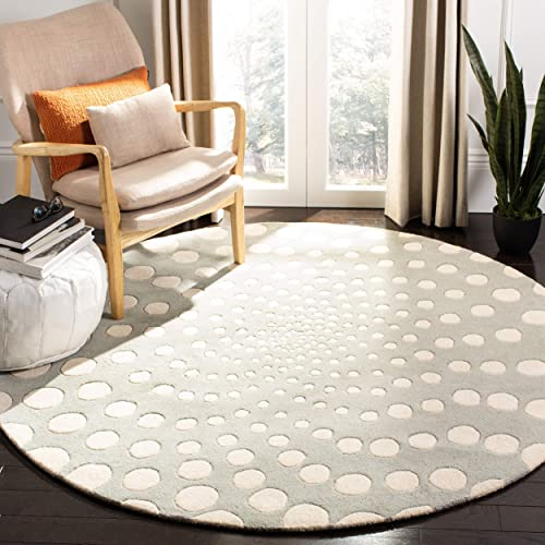 Safavieh Soho Collection SOH766D Handmade Grey and Ivory Premium Wool Round Area Rug 6 Diameter