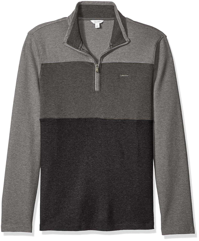 Calvin Klein Mens Long Sleevecolorblocked S& z Mock Neck Quarter Zip 401K240