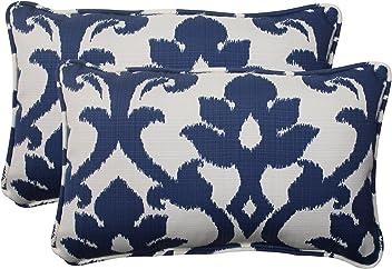 Pillow Perfect Outdoor Bosco Corded Rectangular Throw Pillow, Navy, Set of 2