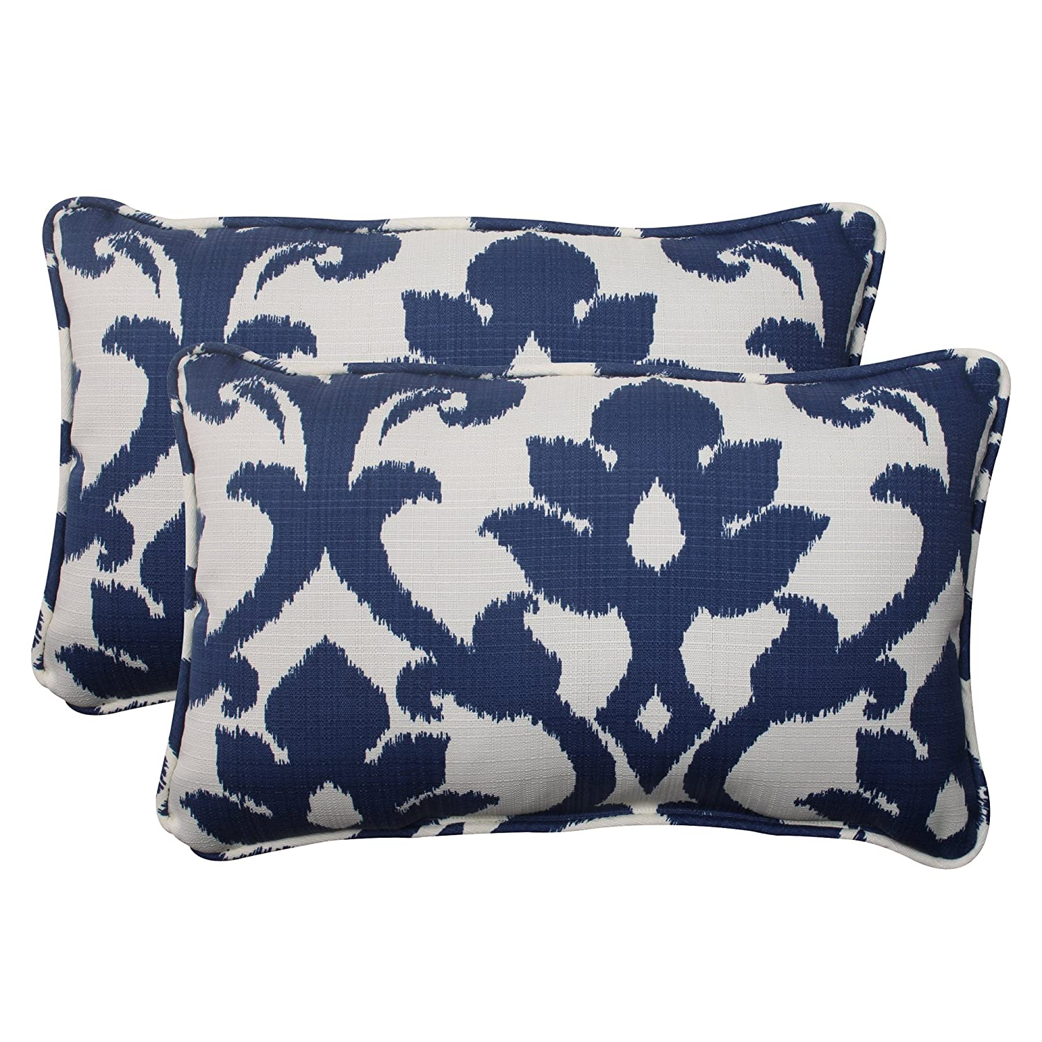 Pillow Perfect Outdoor Bosco Corded Rectangular Throw Pillow, Navy, Set of 2
