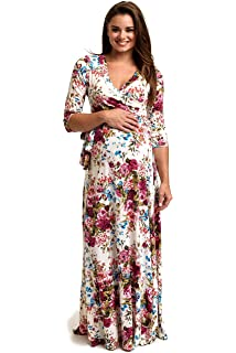 95c1d96a50 PinkBlush Maternity Floral Draped 3 4 Sleeve Maxi Dress at Amazon ...