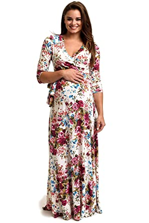 be3ef69c35b43 PinkBlush Maternity Floral Draped 3/4 Sleeve Maxi Dress at Amazon ...