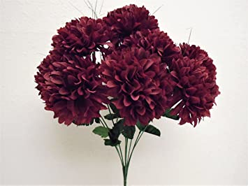 Amazon phoenix silk chrysanthemum mum ball bush 10 artificial phoenix silk chrysanthemum mum ball bush 10 artificial silk flowers 19quot bouquet 2302 burgundy mightylinksfo