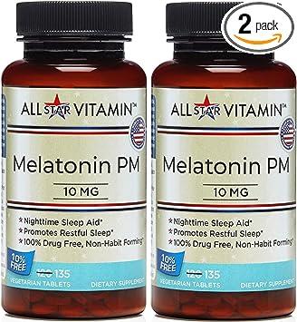 Amazon.com: All-Star Vitamina Melatonina PM, 10 mg, 135 ...
