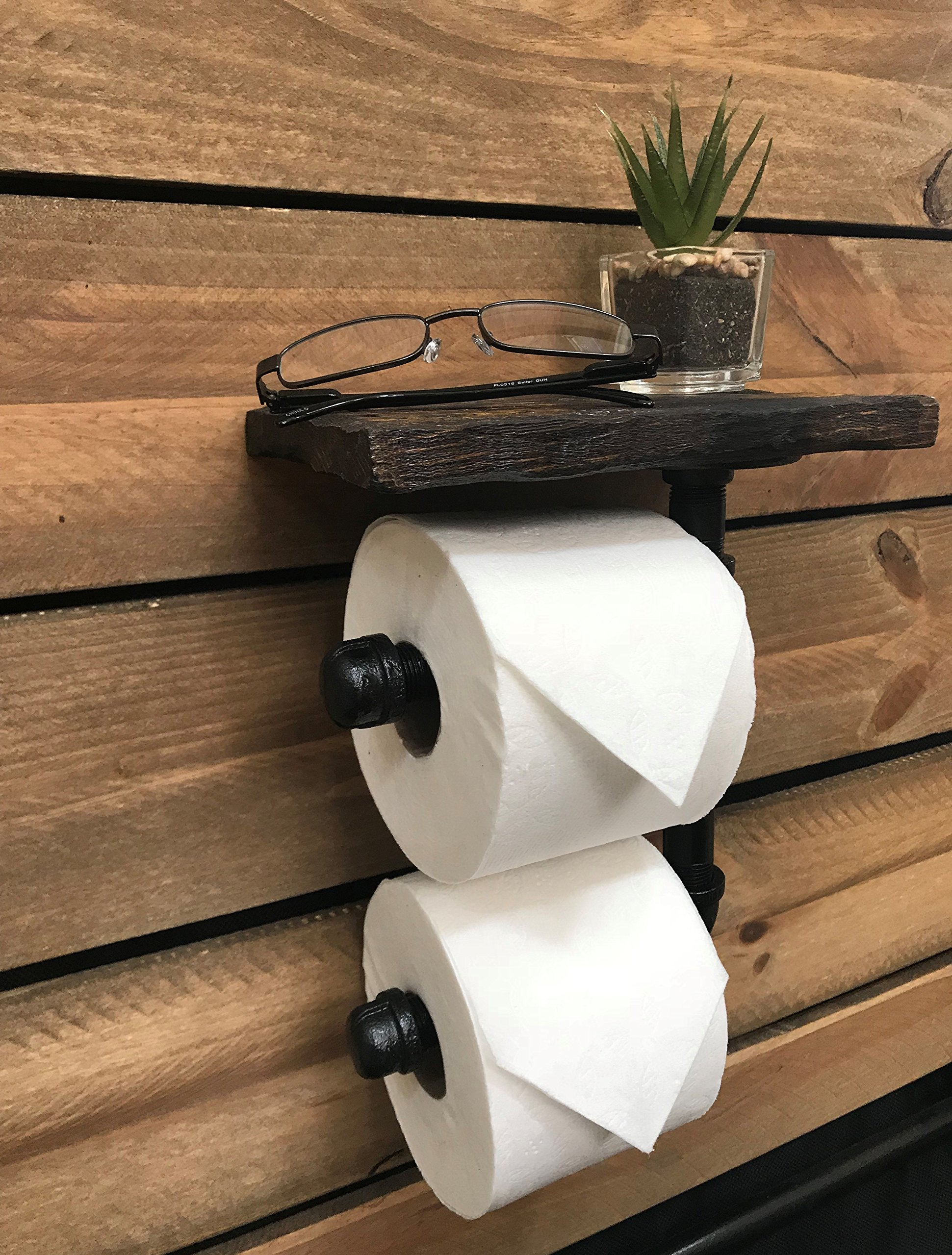 Toilet Paper Holder Shelf for Mobile Phone Storage in Bathroom with 5 Color Options (Dark Walnut) by Piping Hot Art Works (Image #2)