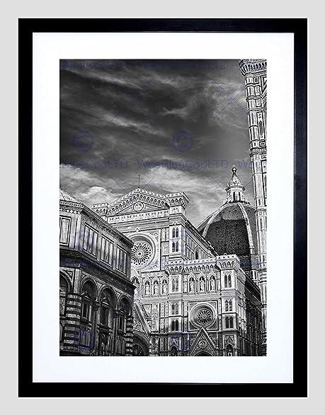 Photo architecture florence duomo cathedral black white italy art print b12x8159