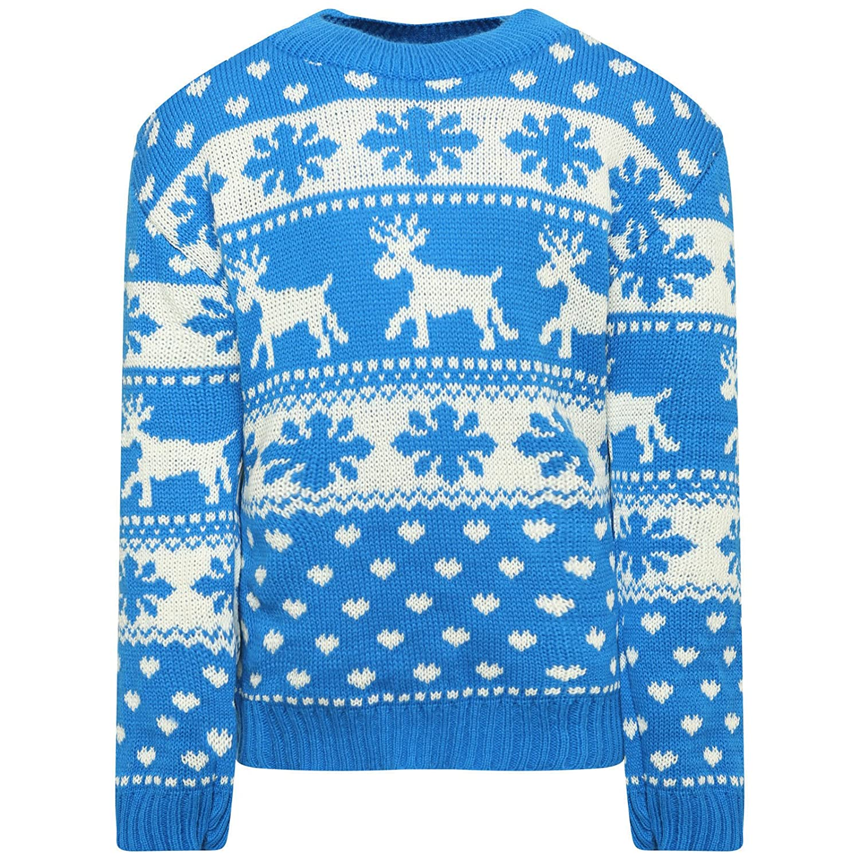 ZEE FASHION Kids Girls BOY Knitted Reindeer Christmas Rudolf Xmas Novelty Jumper Sweater TOP
