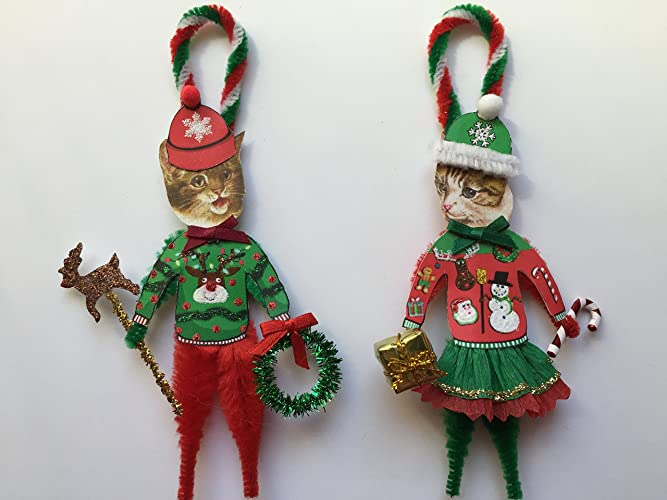 Tabby CAT UGLY CHRISTMAS SWEATER ORNAMENTS Vintage Style Chenille Ornaments  Set of 2 - Amazon.com: Tabby CAT UGLY CHRISTMAS SWEATER ORNAMENTS Vintage Style