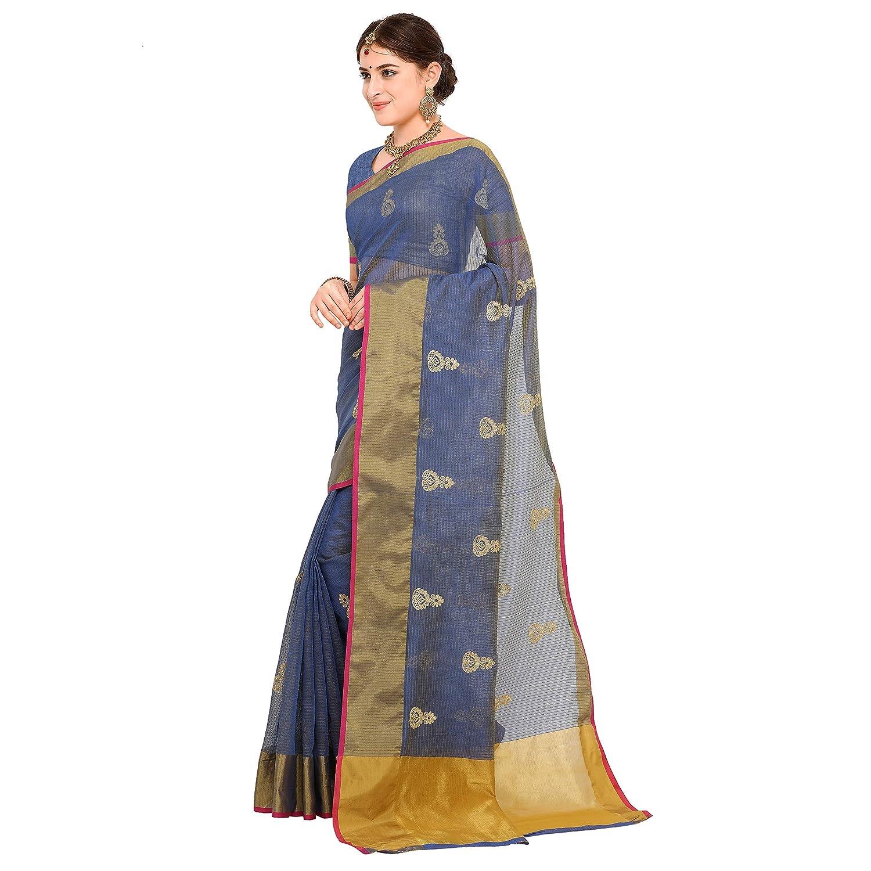 Banarasi Kota Cotton Emberiodered Saree with Unstitched Blouse Piece