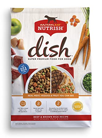 Rachael Ray Nutrish Dish Beef Brown Rice Recipe with Veggies, Fruit Chicken Dry Dog Food, 23 Pounds