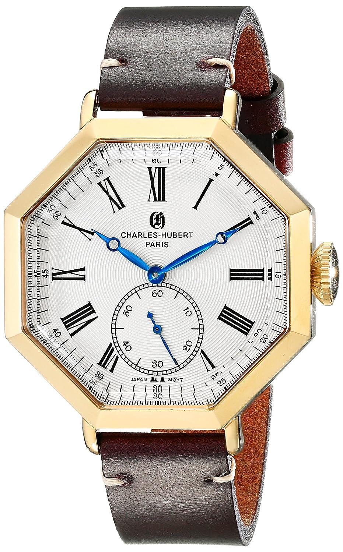 Charles-Hubert - Paris Herren-Armbanduhr 43mm Armband Kalbsleder Braun GehÄuse Edelstahl Quarz 3962-G