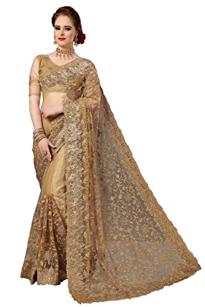 Nivah Fashion Women S Net Embroidery Work Saree With Blouse Piece