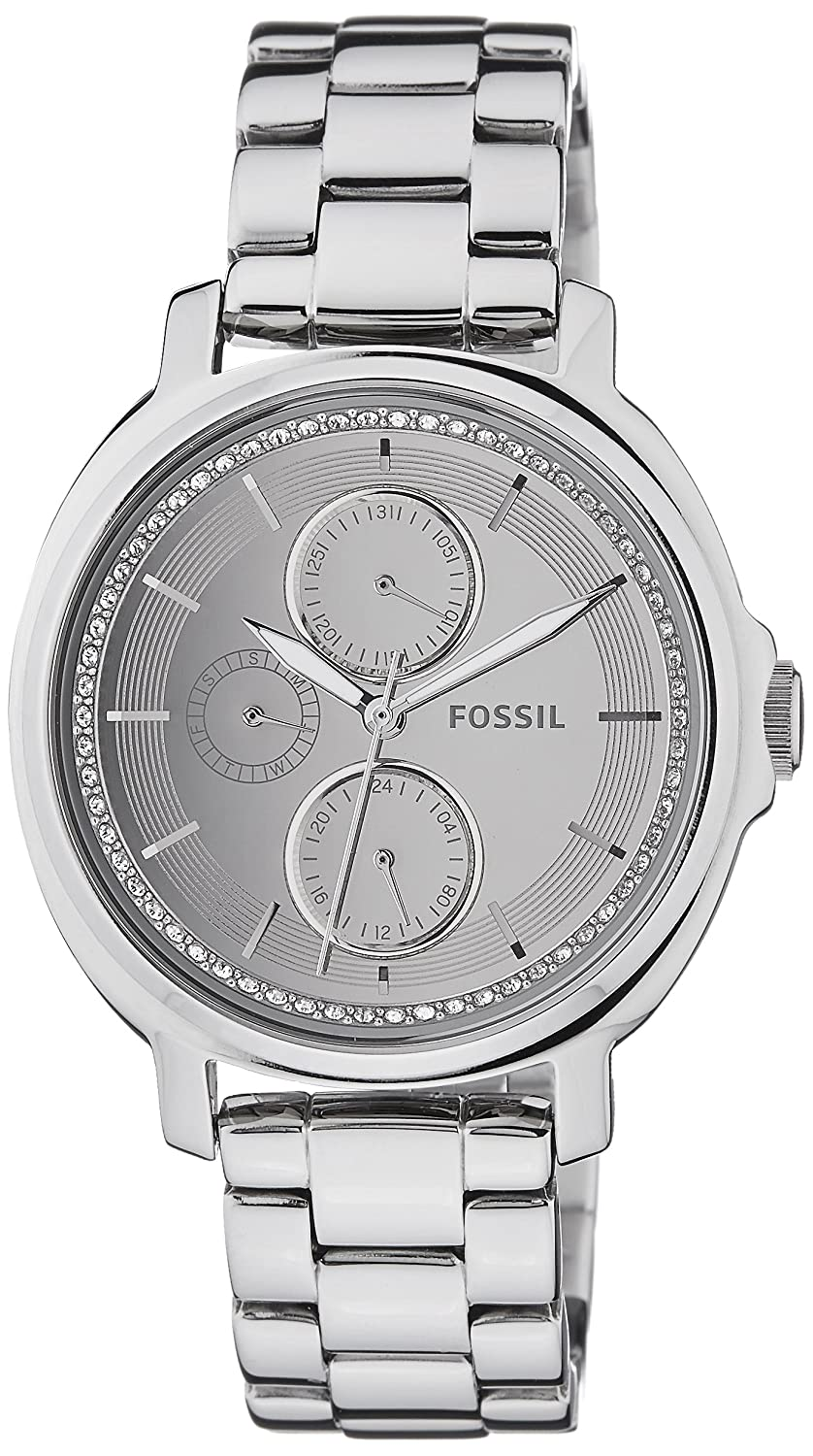 Amazon.com: Fossil Womens ES3718 Chelsey Crystal-Accented Stainless Steel Watch with Link Bracelet: Watches