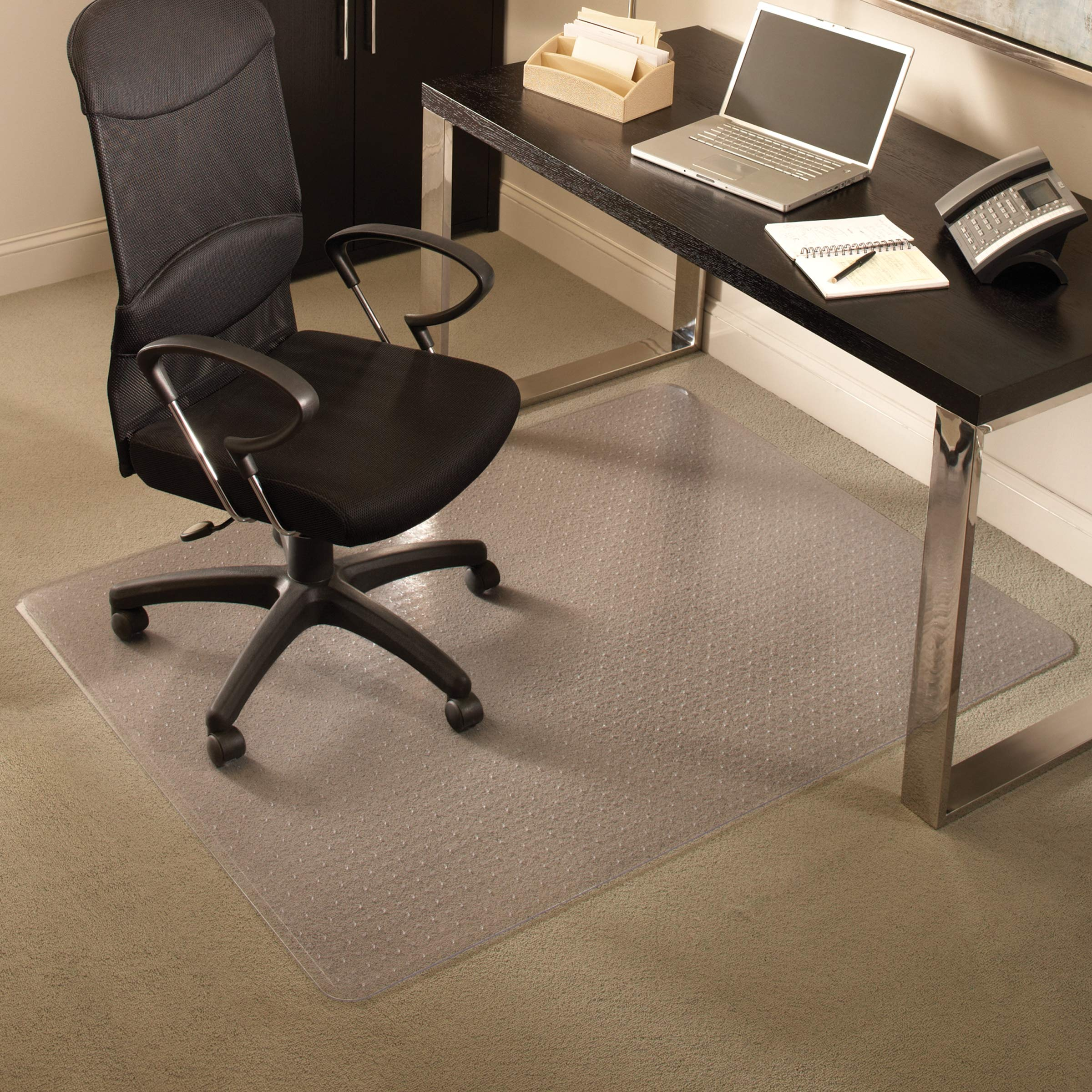 ES Robbins Everlife Carpet ChairMat Medium Pile, 60''x72'' Rectangle, Clear by ES Robbins