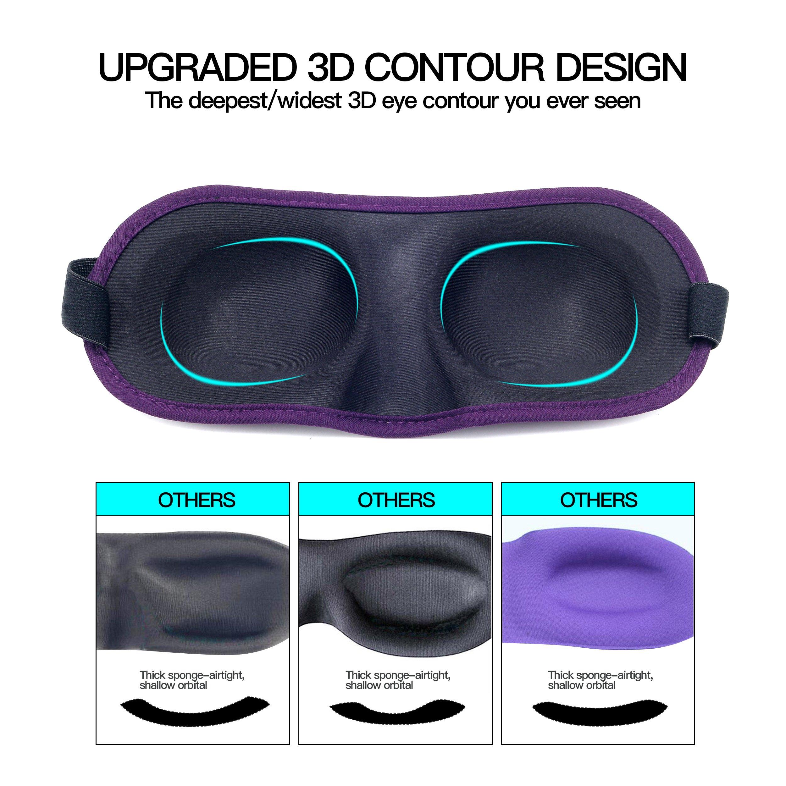.3D Sleep Mask (Any machineable New Design 2 Pack) Eye Mask for Sleeping Locking Light 100%-Never Broken - Blindfold Airplane mask- Night Blinder Eyeshade for Men Women by leeken (Image #2)