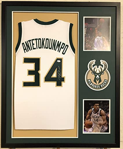 454af661a Image Unavailable. Image not available for. Color  Giannis Antetokounmpo  Autographed Custom Framed Milwaukee Bucks Jersey ...