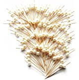 "PartyWoo 3.6"" Cocktail Sticks Party Frilled Toothpicks, Sandwich, Appetizer, Cocktail Picks Party Supplies Plates Picks 100 Count - White Pearl"